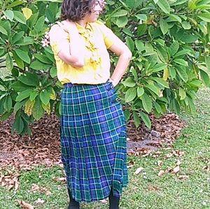 VNTG Pendleton Skirt Double Buckle 12 Wool Plaid